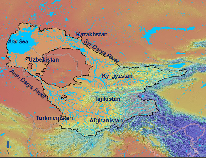Central Asia Countries & Rivers